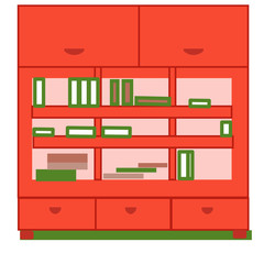 Elegant bookcase, flat style isolated on green background.