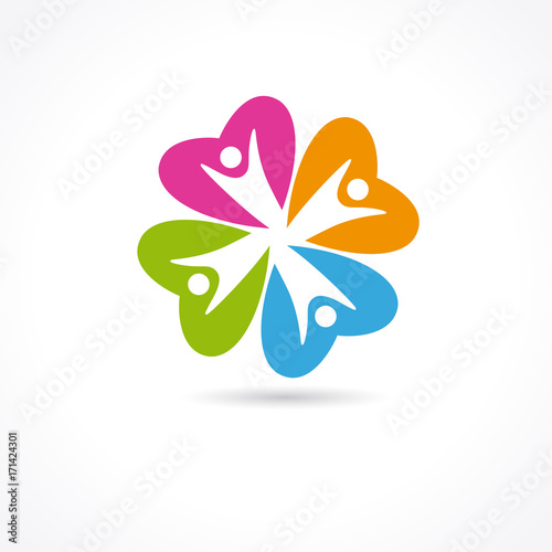 Heart care colored clover flower logo heart care abstract vector heart care colored clover flower logo heart care abstract vector symbol for medical family clinic sciox Gallery