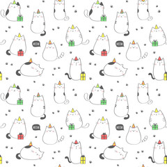 Seamless pattern with funny cats. Birthday party. Vector background.