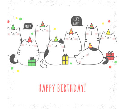 Happy birthday greeting card with cute cats and gifts. Birthday party. Vector illustration