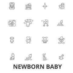 Newborn baby, hospital, sleeping, infant, pregnant woman, nursery line icons. Editable strokes. Flat design vector illustration symbol concept. Linear signs isolated on white background