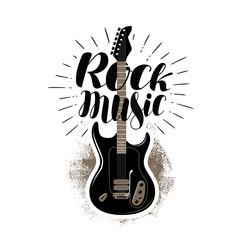 Rock music, lettering. Guitar, fretboard label. Vector illustration