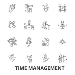 Time management, clock, timeline, planning, project, calendar, leadership line icons. Editable strokes. Flat design vector illustration symbol concept. Linear signs isolated on white background