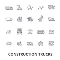 Trucks construction, equipment, crane, cement, vehicles, delivery, van, lorry line icons. Editable strokes. Flat design vector illustration symbol concept. Linear signs isolated on white background