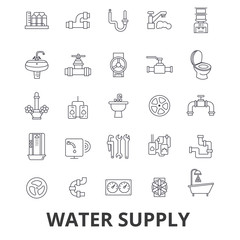 Water supply, pipe, drainage, hvac, pump, irrigation, reservoir line icons. Editable strokes. Flat design vector illustration symbol concept. Linear signs isolated on white background