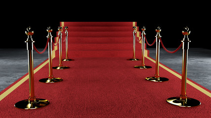 Golden rope barrier with red event carpet