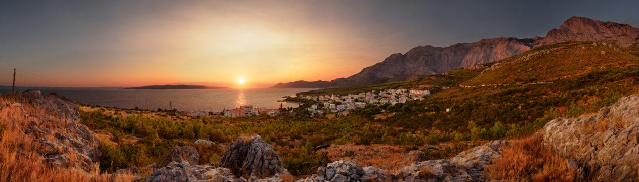 Sunset in Promajna, Makarska Riviera, Middle Dalmatia, Croatia