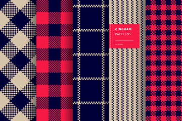 Gingham plaid seamless pattern set