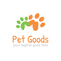 Vector logo template for pet shop,  veterinary clinic. Creative idea for animal feed. Illustration of traces of  pets with silhouette of cat's head. EPS10.