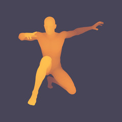 3D Human Body Model. Man kneeling. Vector Illustration.