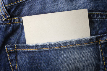 Close up view of empty business card in jeans pocket