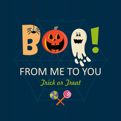 Happy Halloween vector greeting card with halloween monsters