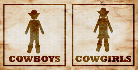 grunge cowboys and cowgirls toilet signs