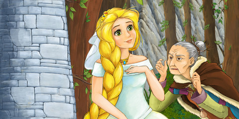 cartoon scene with princess and witch in the forest near the castle tower - illustration for children