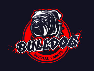 Bulldog head logo, emblem on dark background. Vector illustration.