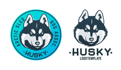 Set of husky dog logo and emblem isolated on white background. Vector illustration.