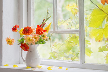 autumn still life on windowsill
