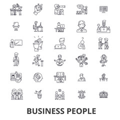 Business people, planning, working, teamwork, human resources, management line icons. Editable strokes. Flat design vector illustration symbol concept. Linear signs isolated on white background