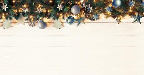 Weihnachten Girlande mit Textfreiraum, Extra Breit, Geschmückt mit türkisen Weihnachtskugeln, Vintage Look