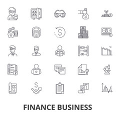Finance business, bank, money, finance concept, business loan, dollar, exchange line icons. Editable strokes. Flat design vector illustration symbol concept. Linear signs isolated on white background