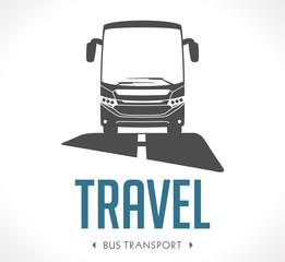 Bus transport logo - vector illustration