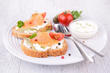 bread toast with cheese and salmon