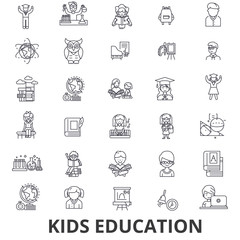 Kids education, learning, education background, school, education technology line icons. Editable strokes. Flat design vector illustration symbol concept. Linear signs isolated on white background