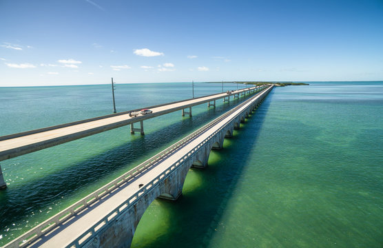 Aerial view along the seven mile bridge of US1 to the florida keys