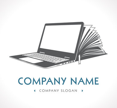 Elearning logo - ebook, e-learning and knowledge base concept