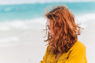 Portrait of red haired Caucasian teenage girl