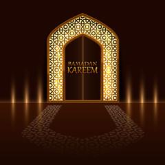 Islamic door of the mosque, cover of Ramadan Kareem . Vector illustration