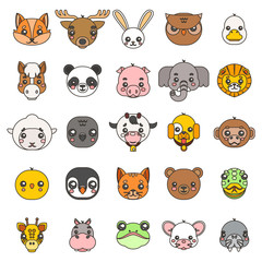 Line art animals cute baby cartoon cubs flat design head icons set character vector illustration