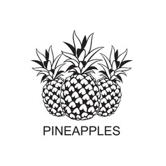 black image of pineapple tropical fruits