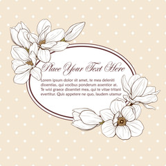magnolia yellow card oval frame