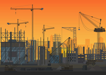 Construction Skyline under construction sunset silhouette. Web Site head of new city exterior. Vector illustration.