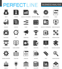 Black classic business analytics icons set.