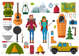 Vector set of hiking people and camping elements. Summer background with camping equipment flat icons.