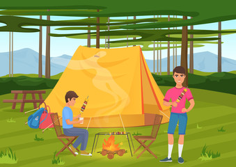 Vector illustration of two friends cooking bbq barbeque and sitting near camping tent.