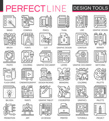 Design tools outline mini concept symbols. Graphic interface tools modern stroke linear style illustrations set. Perfect thin line icons.