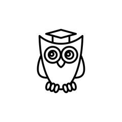 owl in graduation cap line black icon
