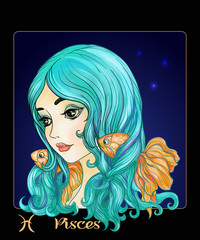 Pisces. A young beautiful girl In the form of one of the signs o