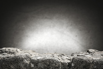 rock table background and gray dark wall space