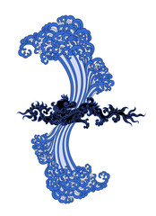 dragon of water and blue waves