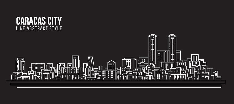 Cityscape Building Line art Vector Illustration design - Caracas city