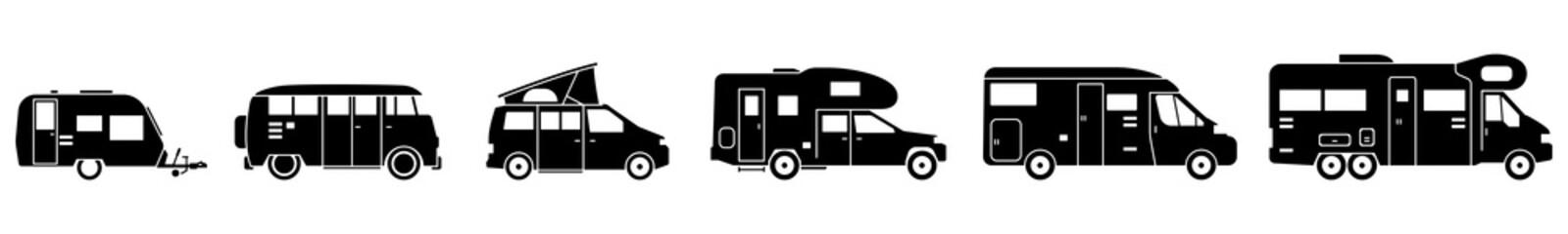 Camping - Verschiedene Wohnmobile (Set/ Schwarz)