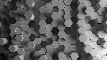 Metal hexagons 3d rendered background
