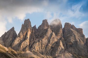 Impressive mountain formation 'The Tre Cime di Lavaredo' ('Three Peaks' / 'Big Peak' 2999 m) in the morning light, Italy, South Tyrol, Dolomites
