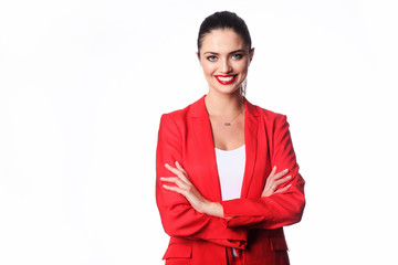 Young woman in red suit isolated on white background.