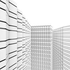 Futuristic black and white architecture background. 3D Rendering.