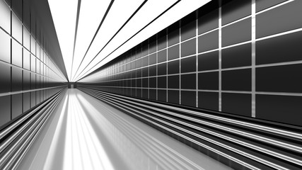 Empty black and white corridor with tile, pipes, and door. 3D Rendering.